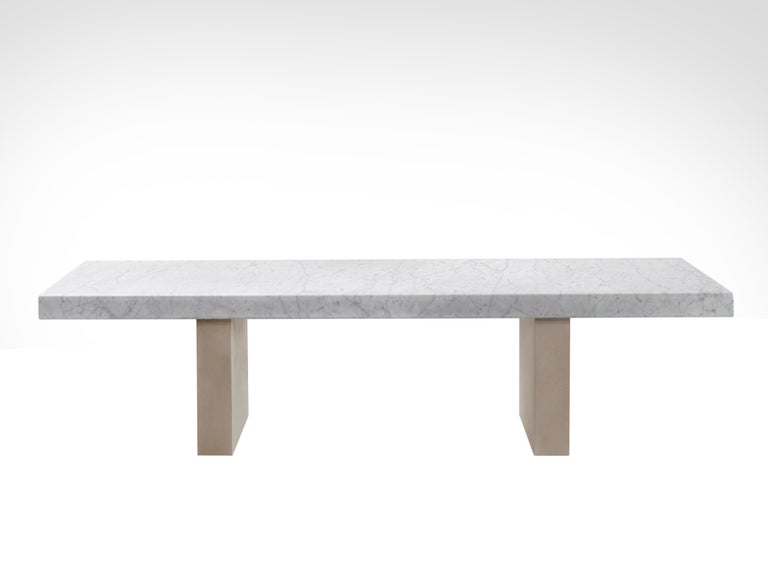Salvatori Span Outdoor Dining Table in Bianco Carrara and Avana by John Pawson For Sale