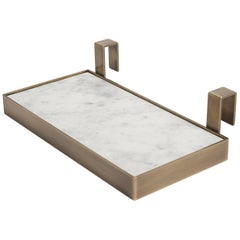 Salvatori TABL-EAU Tray in Bianco Carrara Marble and Brass by Silvia Fanticelli