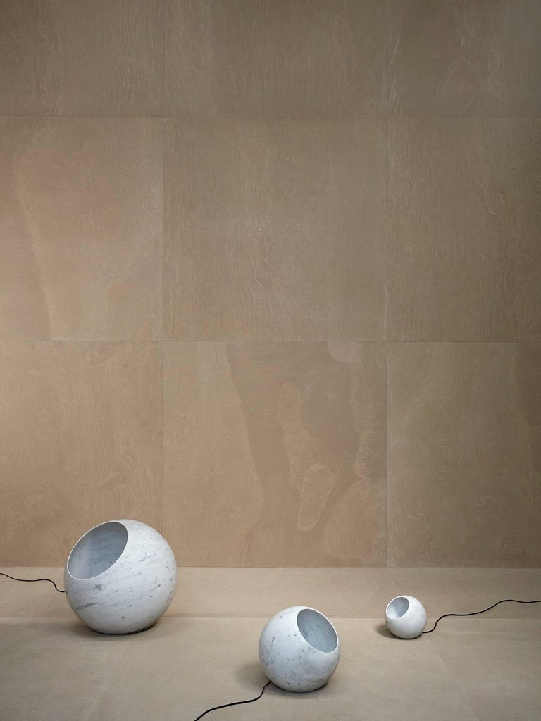 Salvatori Urano Spherical Floor Lamp 50 in Bianco Carrara Marble by Elisa Ossino For Sale 6