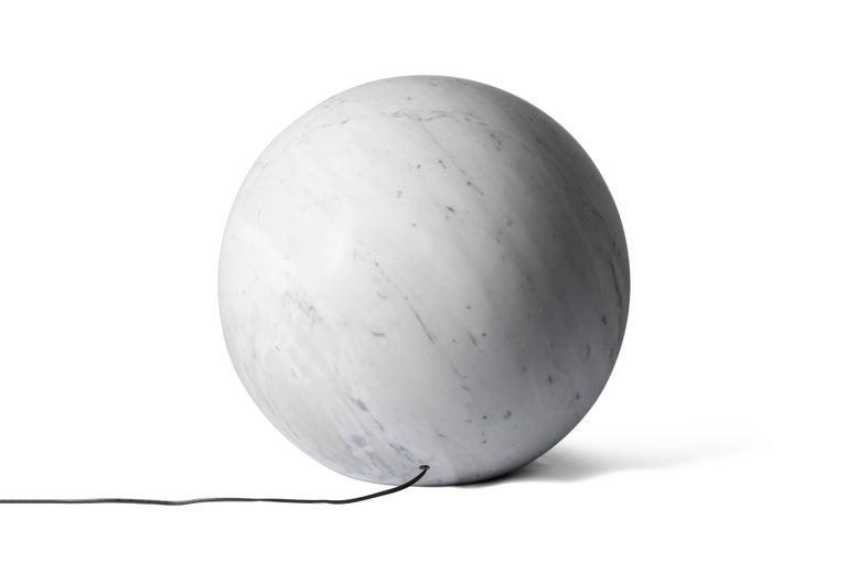 Italian Salvatori Urano Spherical Floor Lamp 50 in Bianco Carrara Marble by Elisa Ossino For Sale