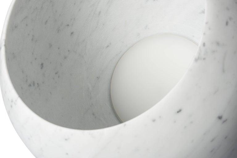 Contemporary Salvatori Urano Spherical Floor Lamp 50 in Bianco Carrara Marble by Elisa Ossino For Sale