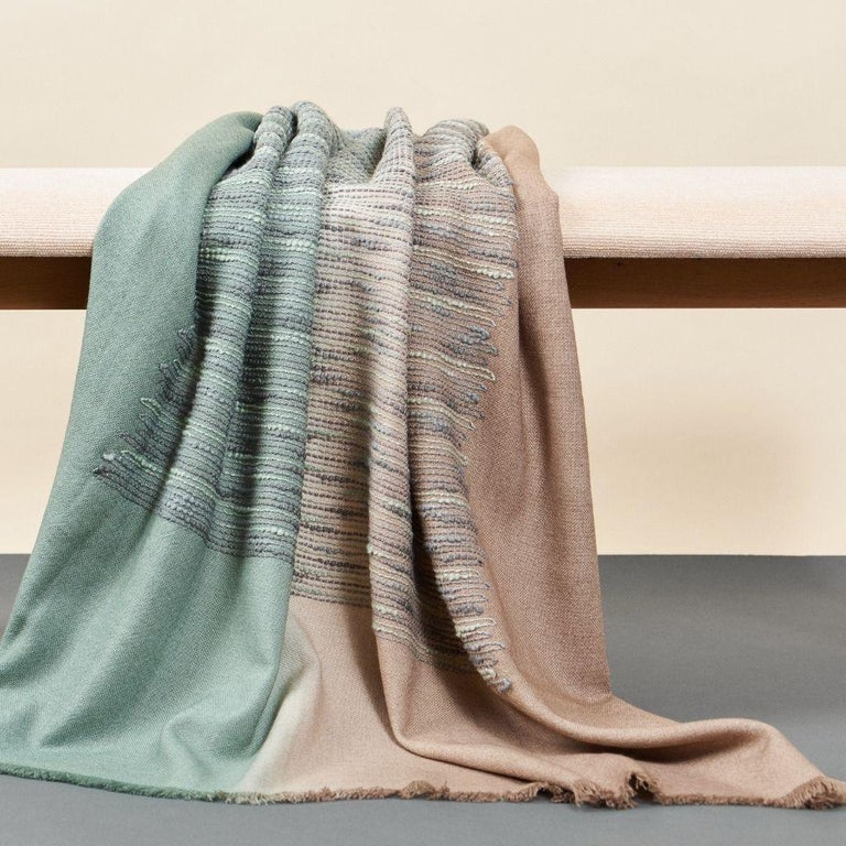 Salvia Handloom & Hand Embroidered Throw / Blanket Ombre Dyed in Merino For Sale 1