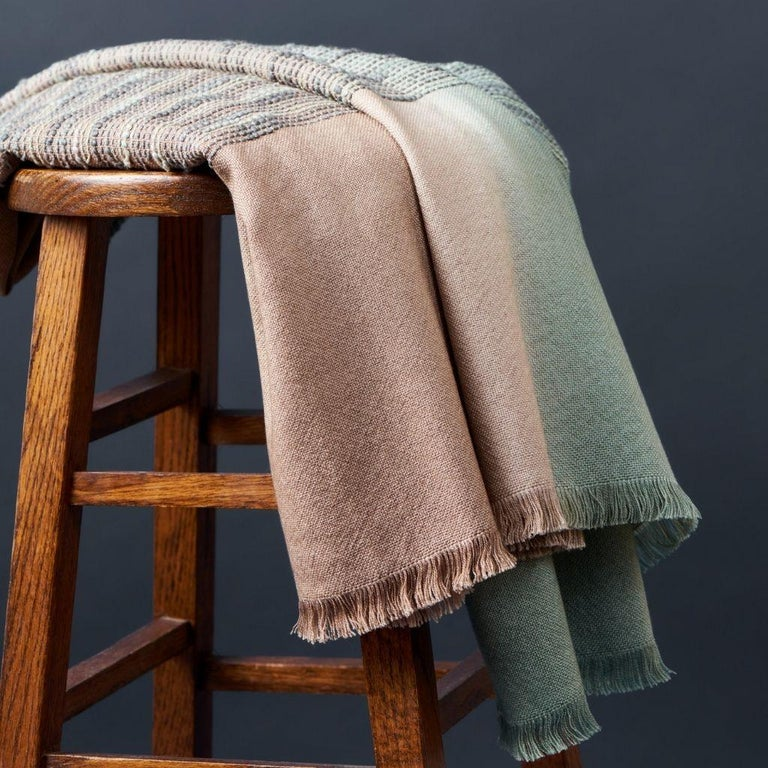 Salvia Handloom & Hand Embroidered Throw / Blanket Ombre Dyed in Merino For Sale 4