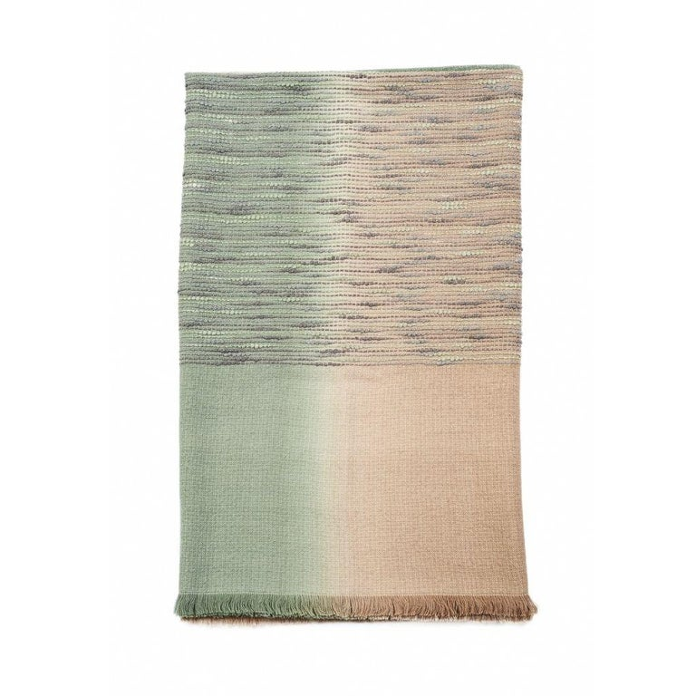 Salvia Handloom & Hand Embroidered Throw / Blanket Ombre Dyed in Merino For Sale 11