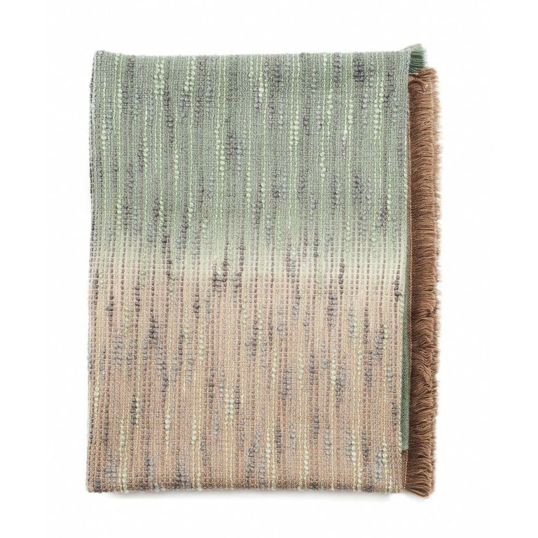 Salvia Handloom & Hand Embroidered Throw / Blanket Ombre Dyed in Merino For Sale 3