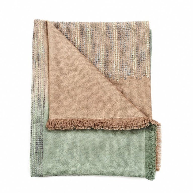 Salvia Handloom & Hand Embroidered Throw / Blanket Ombre Dyed in Merino For Sale 5