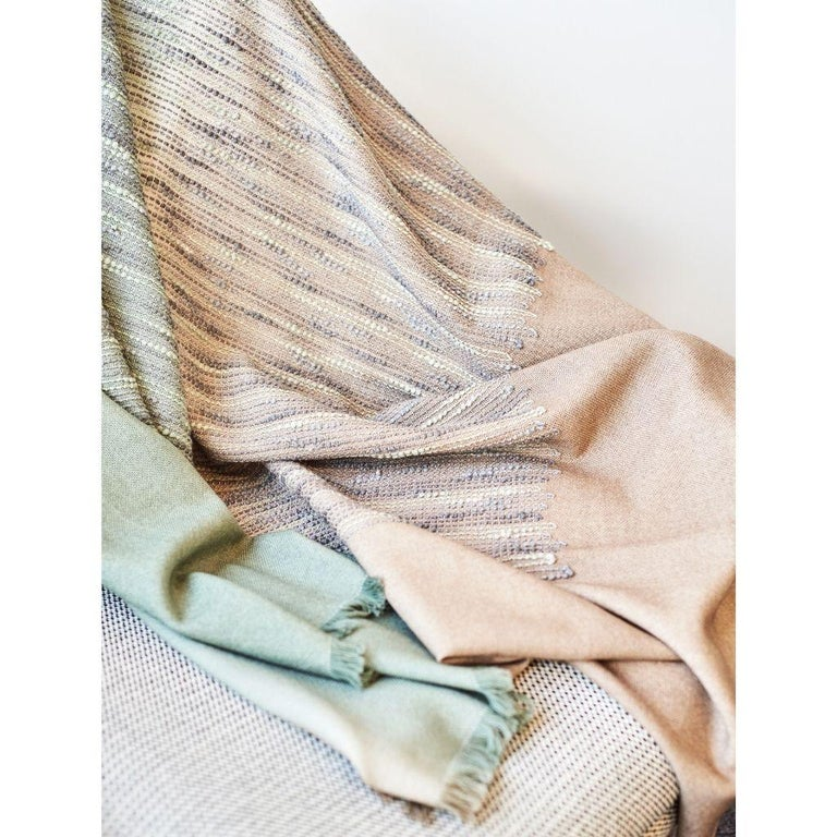 Modern Salvia Handloom & Hand Embroidered Throw / Blanket Ombre Dyed in Merino For Sale