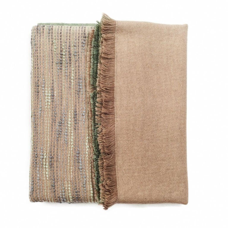 Salvia Handloom & Hand Embroidered Throw / Blanket Ombre Dyed in Merino For Sale 7