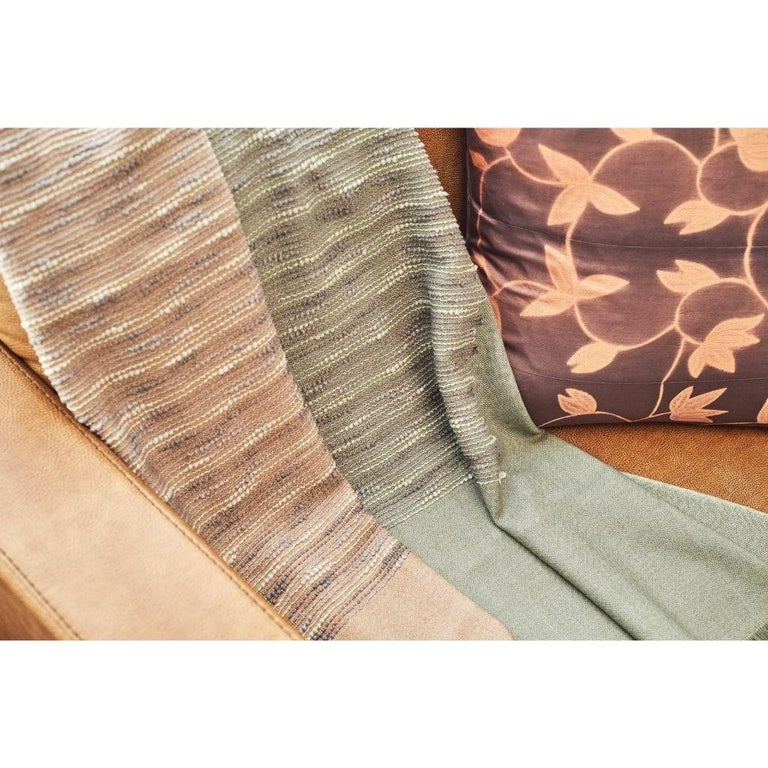 Contemporary Salvia Handloom & Hand Embroidered Throw / Blanket Ombre Dyed in Merino For Sale