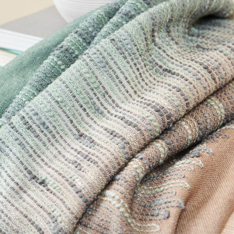 Salvia Handloom & Hand Embroidered Throw / Blanket Ombre Dyed in Merino For Sale 9