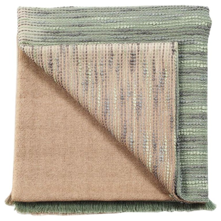Salvia Handloom & Hand Embroidered Throw / Blanket Ombre Dyed in Merino For Sale