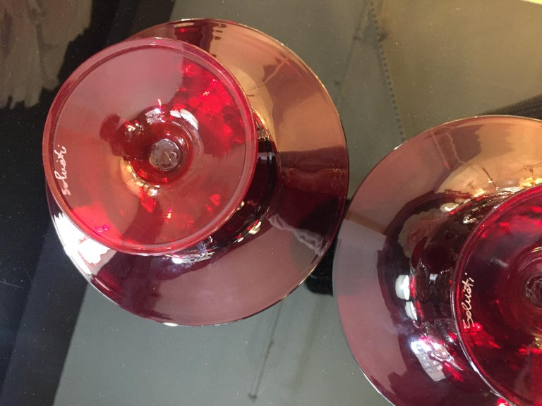 Mid-Century Modern Salviati 1940s Italian Pair of Antique Ruby Red Blown Murano Glass Compote Bowls For Sale