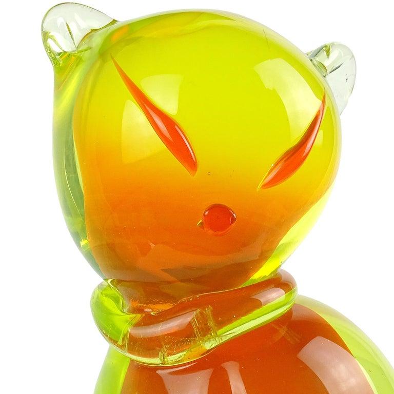 Mid-Century Modern Salviati Barbini Murano Orange Yellow Uranium Italian Art Glass Cat Sculpture For Sale