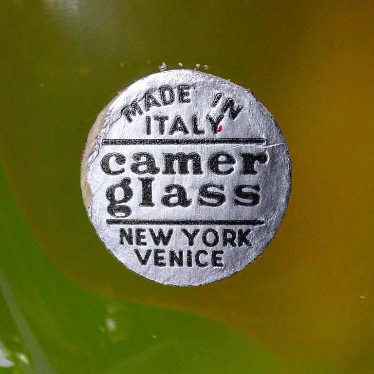 20th Century Salviati Barbini Murano Orange Yellow Uranium Italian Art Glass Cat Sculpture For Sale
