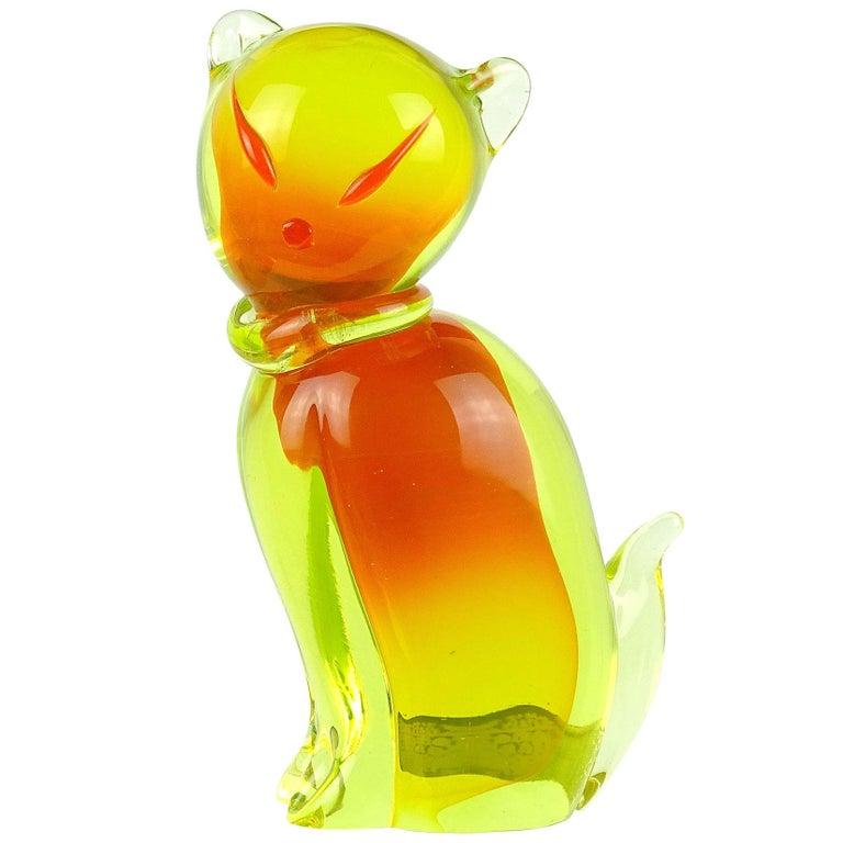 Salviati Barbini Murano Orange Yellow Uranium Italian Art Glass Cat Sculpture For Sale