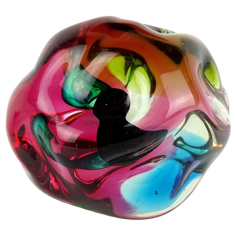 Salviati Gaspari Murano Multi-Color Biomorphic Rock Italian Art Glass Sculpture For Sale