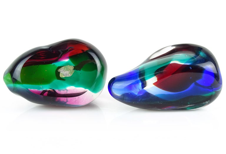 Blown Glass Salviati Gaspari Murano Multicolor Biomorphic Rock Italian Art Glass Paperweight For Sale
