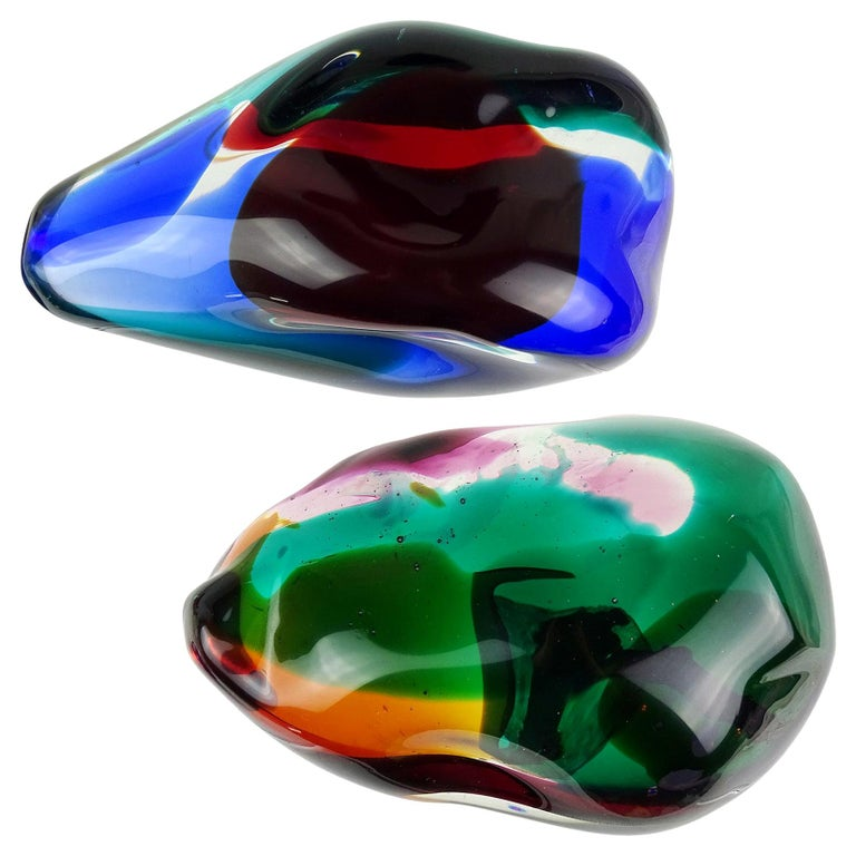 Salviati Gaspari Murano Multicolor Biomorphic Rock Italian Art Glass Paperweight For Sale