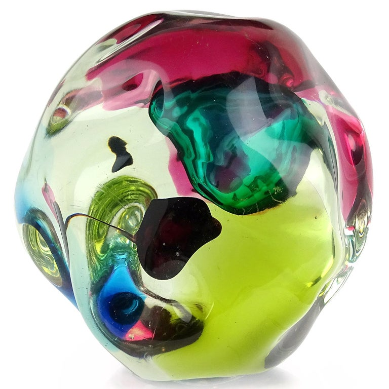 Gorgeous large Murano hand blown Sommerso multi-color Italian art glass biomorphic rock shaped sculpture. Documented to the Salviati Company, and attributed to designer Luciano Gaspari. The abstract form and decoration make the piece look different