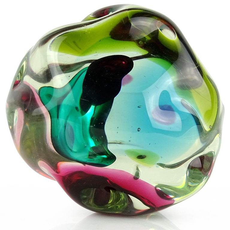 Hand-Crafted Salviati Gaspari Murano Multi-Color Biomorphic Rock Italian Art Glass Sculpture For Sale