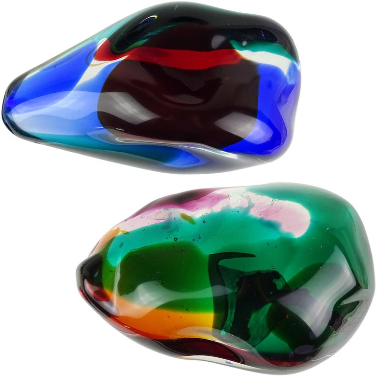 Salviati Gaspari Murano Multi-Color Biomorphic Rock Italian Art Glass Sculpture For Sale 2