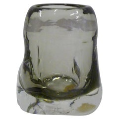 Salviati Murano 1950 Petite Freeform Thick Walled Smoke Glass Vessel Vase, Italy