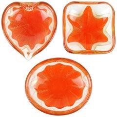 Salviati Murano 1950s Orange Gold Fleck Star Design Italian Art Glass Ring Bowls