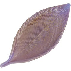 Salviati Murano 1950s Purple Gold Flecks Italian Art Glass Vanity Ring Leaf Bowl