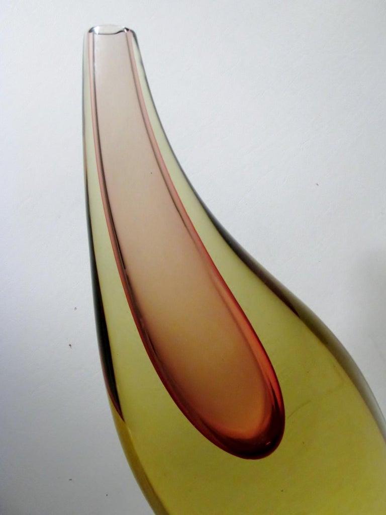 Salviati Murano Glass Large Luciano Gaspari Sommerso Teardrop Vase In Good Condition For Sale In Denver, CO
