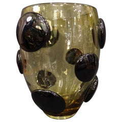 Salviati Murano Italy Black and Amber Blown Crystal Vase, 1970