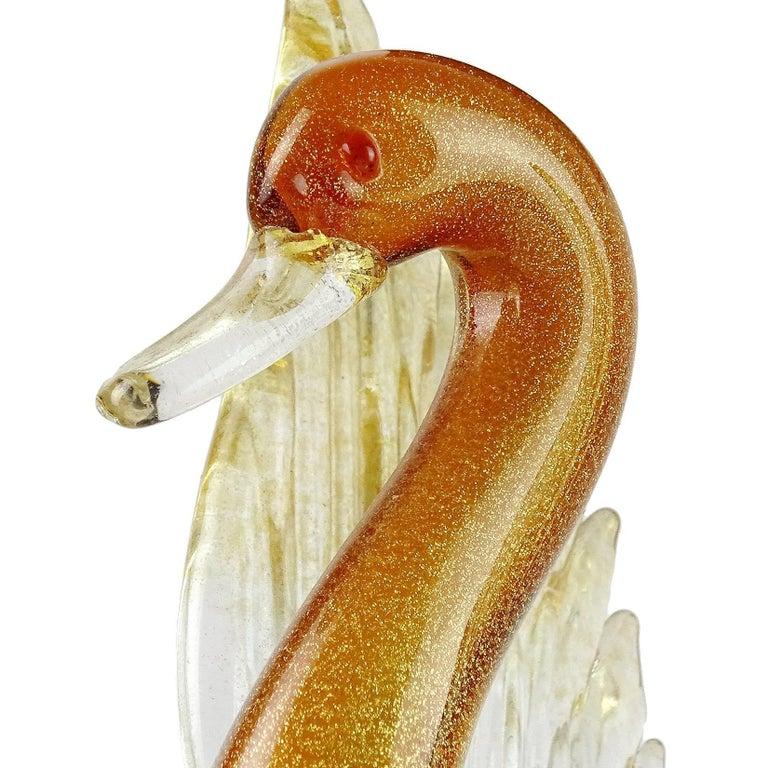 Mid-Century Modern Salviati Murano Orange White Gold Flecks Italian Art Glass Bird Duck Sculpture For Sale
