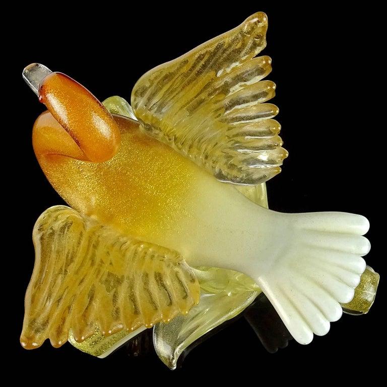 Salviati Murano Orange White Gold Flecks Italian Art Glass Bird Duck Sculpture In Good Condition For Sale In Kissimmee, FL