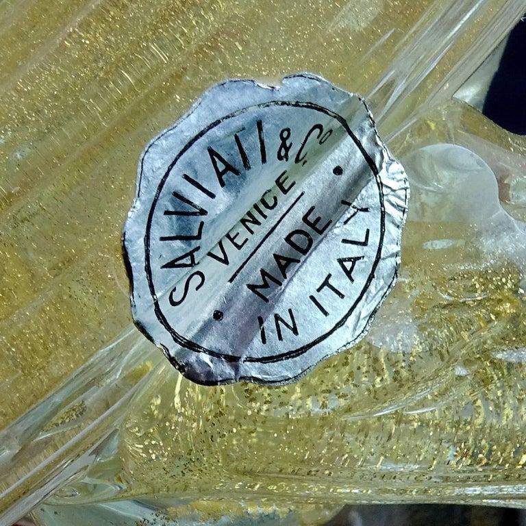 20th Century Salviati Murano Orange White Gold Flecks Italian Art Glass Bird Duck Sculpture For Sale
