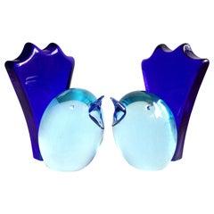 Salviati Murano Sommerso Cobalt Blue Italian Art Glass Bird Bookend Sculptures