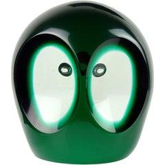 Salviati Murano Sommerso Dark Green Italian Art Glass Owl Figure Paperweight