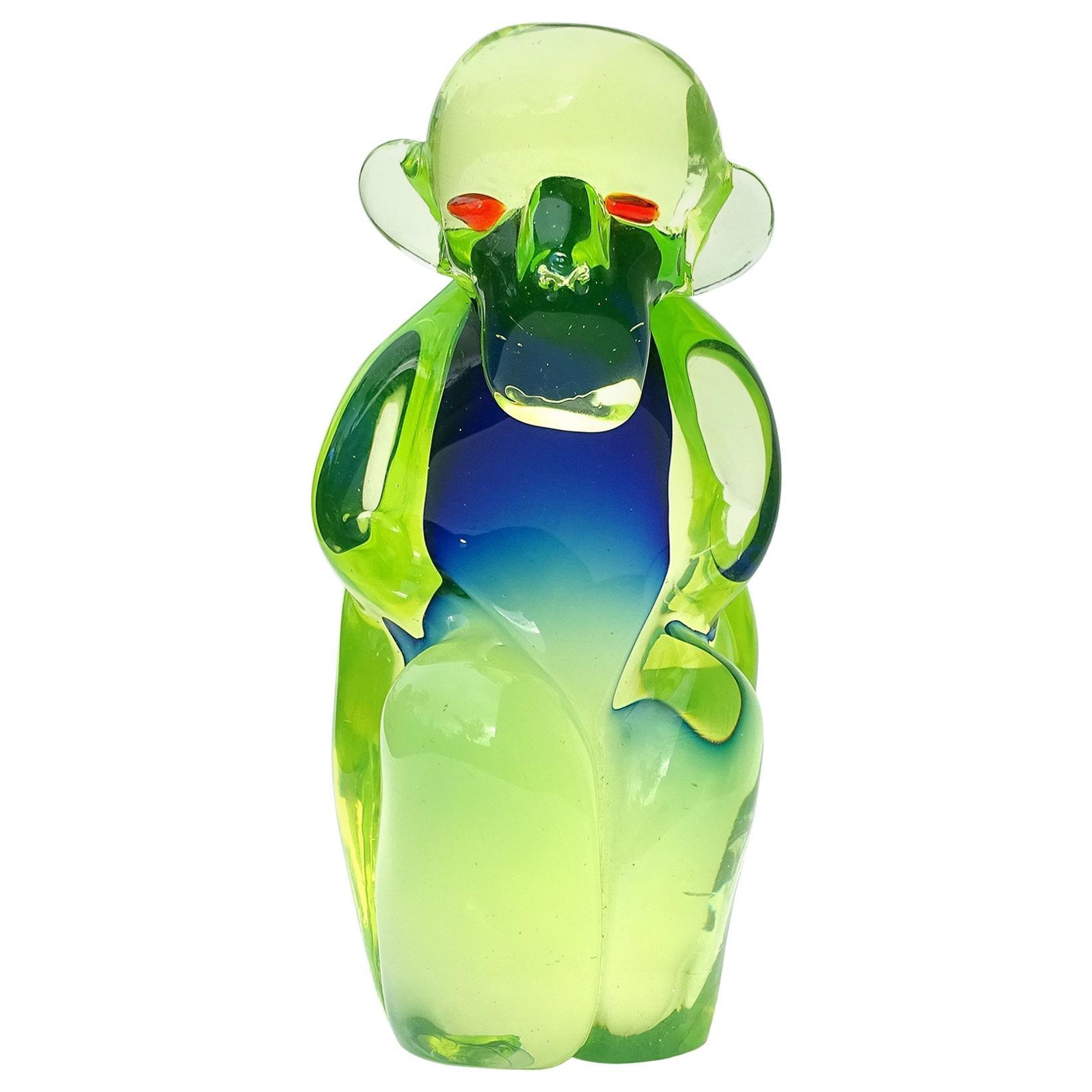 Salviati Murano Sommerso Uranium Green Blue Italian Art Glass Monkey Sculpture