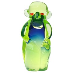 Salviati Murano Sommerso Uranium Green Blue Italian Art Glass Monkey Sculpture