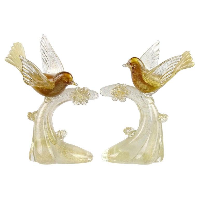 Salviati Murano White Amber Gold Italian Art Glass Birds Centerpiece Sculptures For Sale