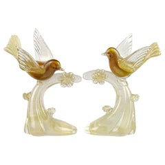 Salviati Murano White Amber Gold Italian Art Glass Birds Centerpiece Sculptures