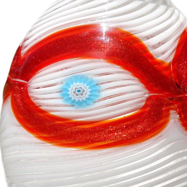 Mid-Century Modern Salviati Murano White Orange Blue Murrines Italian Art Glass Cabinet Vase For Sale