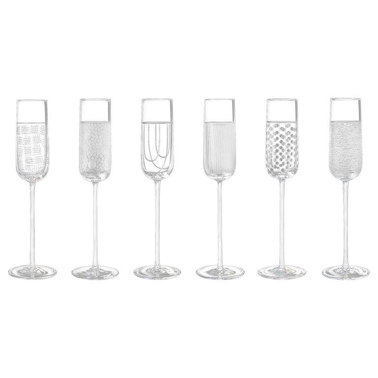Salviati Nove Set of 6 Flute Assorted Glasses For Sale