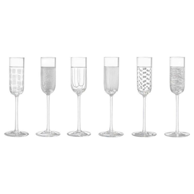 Salviati Nove Set of 6 Grappa Assorted Glasses For Sale
