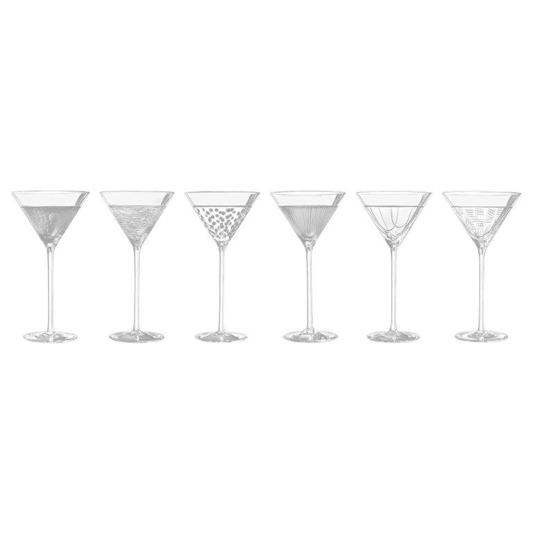 Salviati Nove Set of 6 Martini Assorted Glasses For Sale
