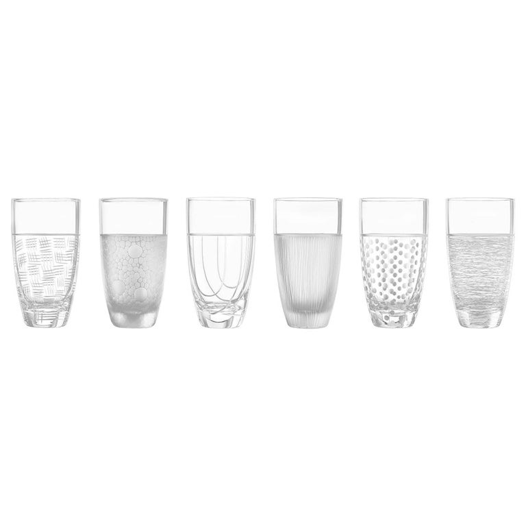 Salviati Nove Set of 6 Tall Drink Assorted Glasses For Sale