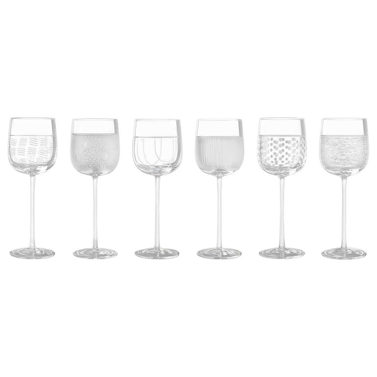 Salviati Nove Set of 6 Water Assorted Glasses For Sale
