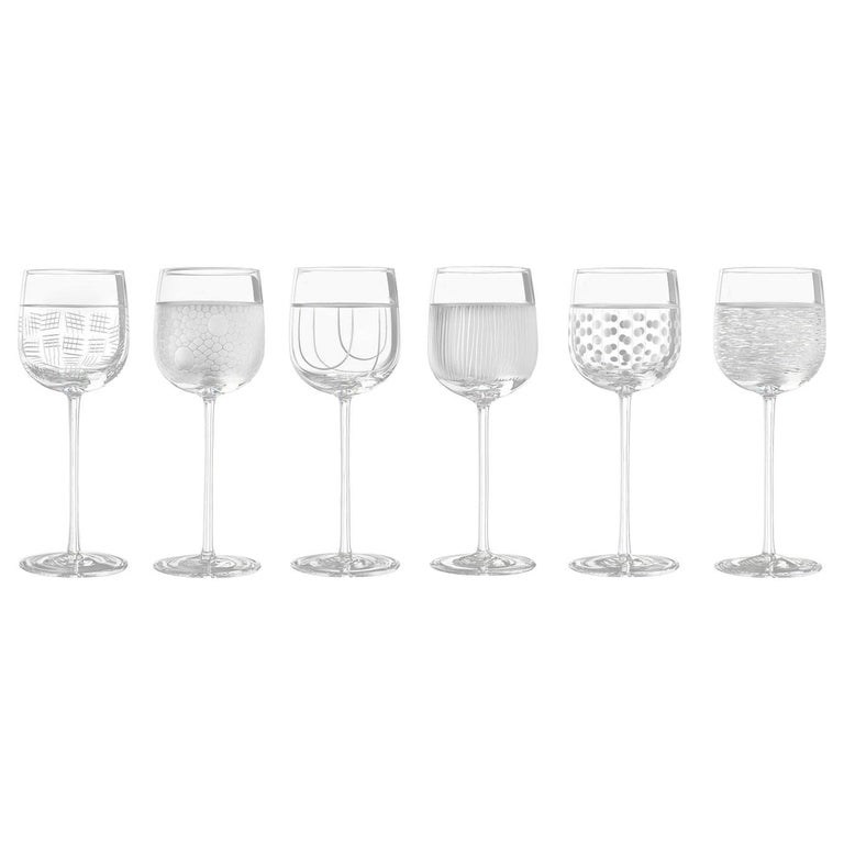 Salviati Nove Set of 6 Wine Assorted Glasses For Sale