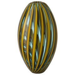 Salviati kleine Perles Vase in gelb und Aquamarin