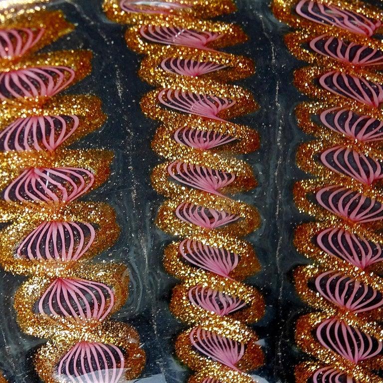 19th Century Salviati Venetian Antique Pink Ribbons Aventurine Italian Art Glass Dish Bowl For Sale