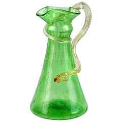 Salviati Venetian Green Gold Flecks Sea Serpent Italian Art Glass Ewer Vase