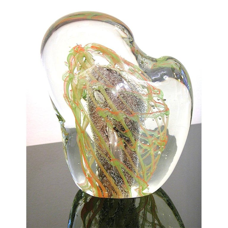 Mid-Century Modern Salviati Vintage Green Orange Purple Crystal Murano Glass Sculpture Work of Art For Sale